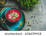 spring detox beetroot soup with ...   Shutterstock . vector #626659418