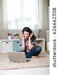 young woman with laptop in the... | Shutterstock . vector #626662508