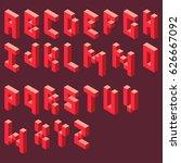 isometric alphabet pixel art... | Shutterstock .eps vector #626667092