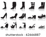 set of icons of women's shoes