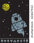 spaceship and the moon with...   Shutterstock .eps vector #62667412