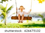 happy child girl laughing and... | Shutterstock . vector #626675132