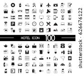hotel icon set black and white | Shutterstock .eps vector #626676122