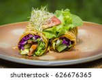 raw vegan carrot and cumin wrap ... | Shutterstock . vector #626676365