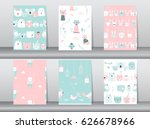 set of seamless patterns with... | Shutterstock .eps vector #626678966