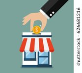 hand collect the money in shop... | Shutterstock .eps vector #626681216