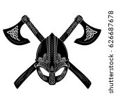 viking helmet  crossed viking... | Shutterstock .eps vector #626687678