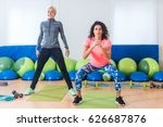 two slim attractive sportswomen ... | Shutterstock . vector #626687876