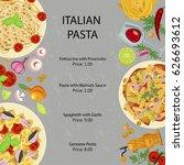 pasta restaurant menu template...   Shutterstock .eps vector #626693612