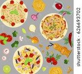 template of italian macaroni.... | Shutterstock .eps vector #626693702