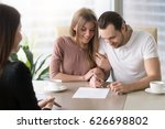 smiling couple agreed to sign... | Shutterstock . vector #626698802