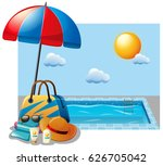 summer scene with swimming pool ... | Shutterstock .eps vector #626705042