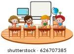 kids sitting a school desks   Shutterstock .eps vector #626707385