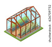 glass greenhouse with flowers... | Shutterstock .eps vector #626709752