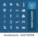 logistic icon set clean vector   Shutterstock .eps vector #626710958