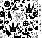 halloween seamless pattern set. ... | Shutterstock .eps vector #626713286