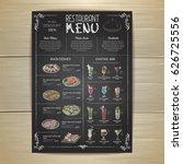chalk drawing restaurant menu... | Shutterstock .eps vector #626725556