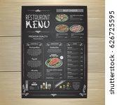 chalk drawing restaurant menu... | Shutterstock .eps vector #626725595