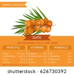 date health benefits. vector... | Shutterstock .eps vector #626730392