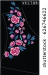 embroidery ethnic flowers neck... | Shutterstock .eps vector #626746622