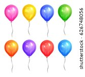colored realistic helium... | Shutterstock . vector #626748056