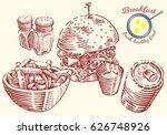 hand drawn breakfast... | Shutterstock .eps vector #626748926