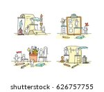 office objects set with working ... | Shutterstock .eps vector #626757755