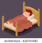 sleep man bed rest night... | Shutterstock .eps vector #626761082