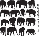 asian elephant silhouette... | Shutterstock .eps vector #626761352