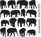 asian elephant silhouette...   Shutterstock .eps vector #626761352