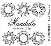 mandala set. vintage... | Shutterstock .eps vector #626761772