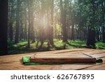empty kitchen board on a wooden ...   Shutterstock . vector #626767895
