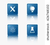 blue flat design icons  science ...