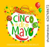 cinco de mayo  lettering on... | Shutterstock .eps vector #626768672
