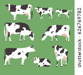 collection of grazing cows with ... | Shutterstock .eps vector #626769782