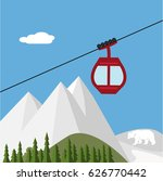 ski lift gondola snow mountains ... | Shutterstock .eps vector #626770442