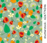 seamless autumn pattern with... | Shutterstock .eps vector #626774246