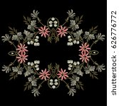 a wreath of embroidered flowers. | Shutterstock .eps vector #626776772