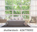 modern white bedroom 3d... | Shutterstock . vector #626778302