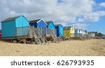 colourful beach huts on... | Shutterstock . vector #626793935