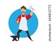 cute muscular blacksmith... | Shutterstock .eps vector #626812772