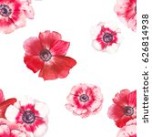 watercolor anemone flowers... | Shutterstock . vector #626814938