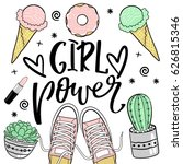 fashion patches set.girl power... | Shutterstock .eps vector #626815346