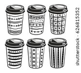 coffee to go paper cups hand... | Shutterstock .eps vector #626815352