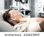 young woman patient lying at... | Shutterstock . vector #626815895