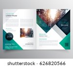 business bifold brochure or magazine cover design vector template | Shutterstock vector #626820566