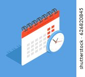 calendar and clock in isometric.... | Shutterstock .eps vector #626820845