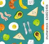 seamless pattern of cartoon... | Shutterstock .eps vector #626821406