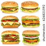 collage of big hamburgers on...   Shutterstock . vector #626821592