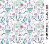 vector floral seamless pattern... | Shutterstock .eps vector #626824586